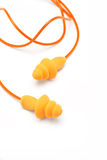Orange ear plugs Royalty Free Stock Photography