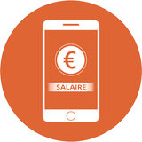 Orange earning and euro sign design in a flat round button Royalty Free Stock Photos