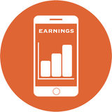 Orange earnings design in a flat round button Stock Photos