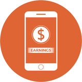 Orange earnings and dollars sign design in a flat round button Stock Photography