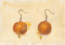 Orange Earrings. Original Watercolour illustration of Felt Orange earrings Stock Photos