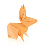 Orange easter bunny of origami Royalty Free Stock Photo
