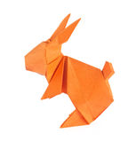 Orange easter bunny of origami Royalty Free Stock Photos