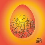 Orange Easter egg with drawing of town landscape with houses, stars, stylized waves on orange background. Greeting card with text vector illustration