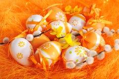 Orange easter eggs Royalty Free Stock Photo
