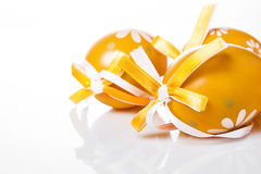 Orange Easter eggs Stock Photo