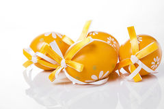 Orange Easter eggs Stock Photos
