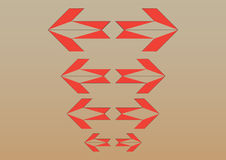 Arrow. Orange eight sided arrows with background stock illustration