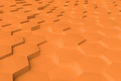 Orange einfarbiges Hexagon deckt abstrakten Hintergrund mit Ziegeln Stockfoto
