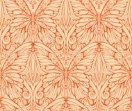 Orange einfarbiges Muster des Schmetterlinges und mit Blumen Lizenzfreie Stockfotos