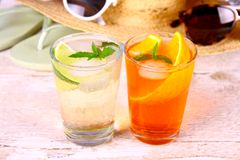 Orange and elderflower cocktails with holiday background. Close up royalty free stock photography