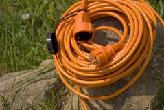 Orange electric cable Royalty Free Stock Photos
