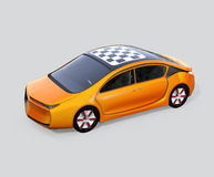 Orange electric car isolated on gray background Royalty Free Stock Photos