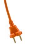 Orange electric plug. Isolated on white background royalty free stock image