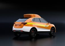 Orange electric rescue SUV isolated on black background royalty free illustration