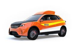 Orange electric rescue SUV isolated on white background. 3D rendering image stock illustration