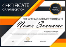 Orange Elegance horizontal certificate with Vector illustration ,white frame certificate template with clean and modern pattern. Presentation Stock Photography