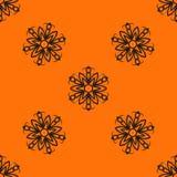 Orange elegant Ornamental stylized flower pattern Royalty Free Stock Image