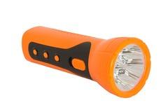 Orange elektrische Taschen-Taschenlampe auf weißem blackground lizenzfreie stockbilder