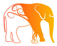 Orange elephant logo Royalty Free Stock Images