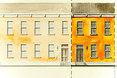Orange elevation architectural sketch drawing of block housing with roofs, windows, entry doors and brick textures Royalty Free Stock Photo