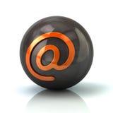 Orange email icon on black glossy sphere. 3d illustration on white background Stock Photos