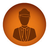 Orange emblem guard person icon. Illustraction design image Royalty Free Stock Image