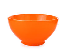 Orange empty bowl isolated on white background. Food Stock Images