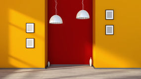 Orange empty interior with lamp and white frames on the wall.  Stock Image