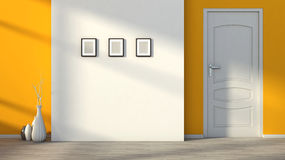Orange empty interior with a white door Royalty Free Stock Images