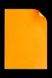 Orange empty A4 paper isolated on black Royalty Free Stock Photo