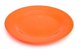 Orange empty plate Stock Photography