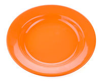 Orange empty plate on white background Royalty Free Stock Photo