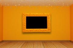 Orange empty room Stock Photo