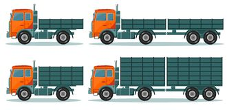 Orange empty truck, vector illustration Royalty Free Stock Photo