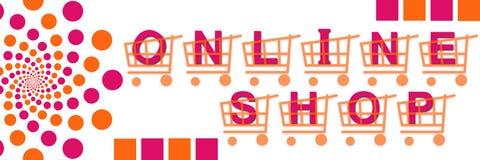 Orange en ligne de rose de paniers de boutique Photographie stock
