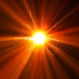 Orange energy light. Illustration of a bright energy light stock illustration