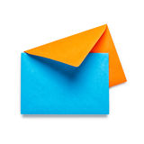 Orange envelope with blue card Stock Photography