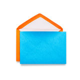 Orange envelope with blue card Stock Images