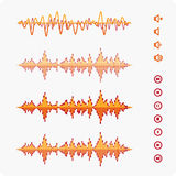 Orange Equalizer template. Equalizer Vector Sound Waveforms. Musical pulse icons and buttons Royalty Free Stock Photo