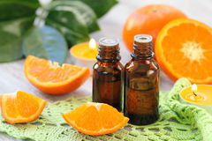 Orange essential aroma oil. For your healthcare Royalty Free Stock Photo