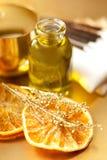 Orange essential oil for aromatherapy Royalty Free Stock Photo