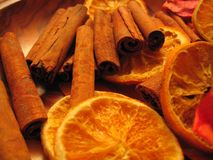 Orange et cannelle Photo stock