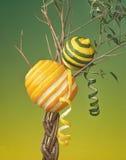 Orange et citron s'élevant sur un arbre Photographie stock