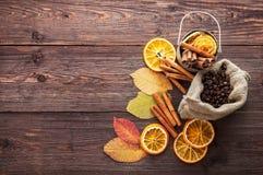 Orange et citron sec, grains de café dans le sac, cannelle et feuilles d'automne tombées Image stock