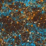 Orange et lignes reliées par bleu sur le brun Photographie stock