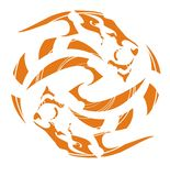 Orange ethnic lion circle symbol. Design of a tattoo or emblem the rotated lions in the form of the sphere in tribal style. Orange on white Royalty Free Illustration