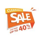Orange etikett för utförsäljning 40 procent överskriftdesign för banernolla royaltyfri illustrationer