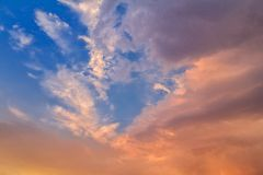 Orange Evening Clouds. Orange color in the clouds during sunset Royalty Free Stock Image
