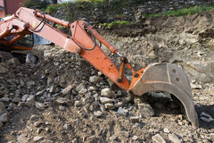 Orange excavator Royalty Free Stock Images